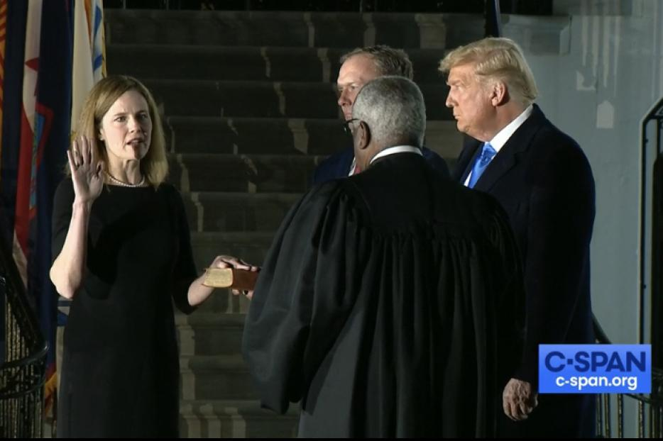 Judge Amy Coney Barrett sworn in as an Associate Justice to the Supreme Court by Justice Clarence Thomas at the White House on October 26, 2020.