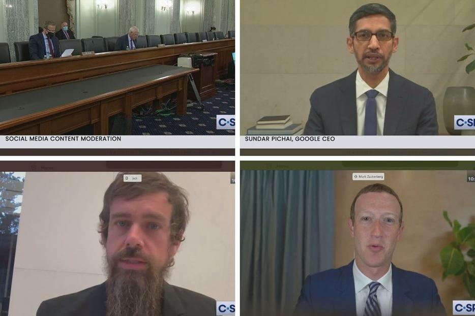 The Senate Commerce Committee held a hearing Oct. 28 to discuss Section 230 and censorship concerns with CEOs (clockwise from top right) Sundar Pichai of Google; Mark Zuckerberg of Facebook; and Jack Dorsey of Twitter.