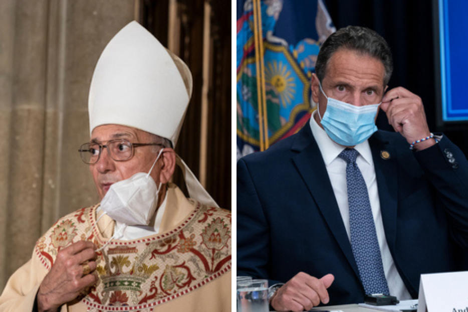 Bishop Nicholas DiMarzio attends NYPD mass honoring members died of COVID-19 at St. Patrick's Cathedral on October 5, 2020.   (R) Governor Andrew Cuomo makes an announcement and holds media briefing at 3rd Avenue office.