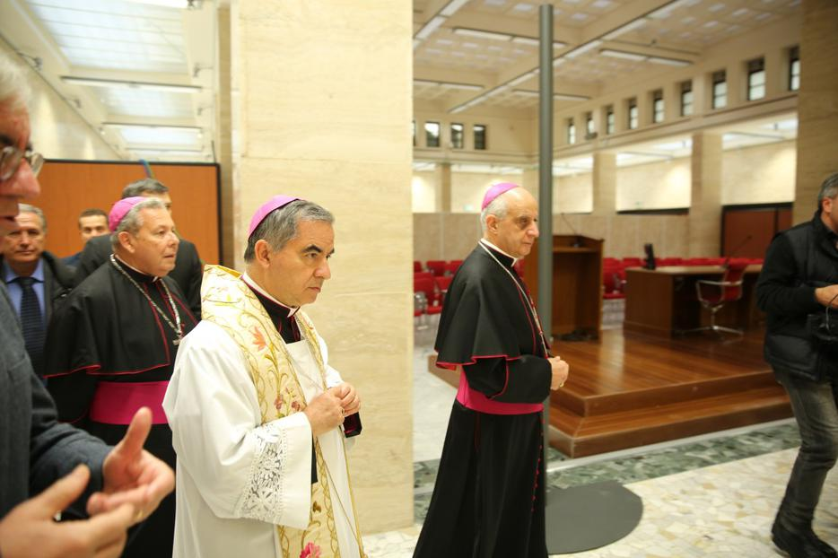 Cardinal Angelo Becciu at the Blessing and Inauguration of the Media Center and Pilgrimage Information Center for the Extraordinary Jubilee of Mercy on December 1, 2015.