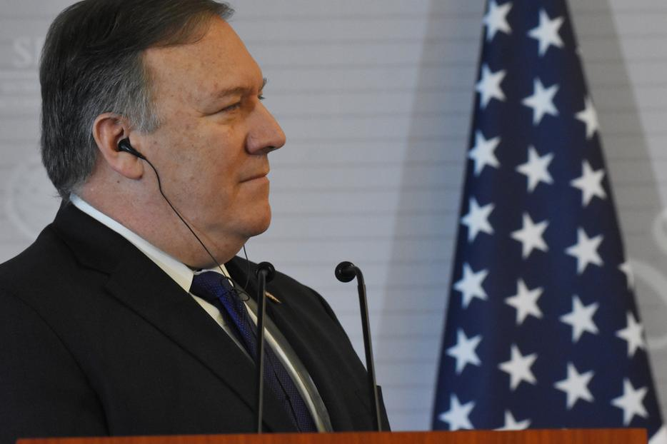 Secretary of State Mike Pompeo Speaks during a press conference during an official visit to Mexico on October 19, 2018.