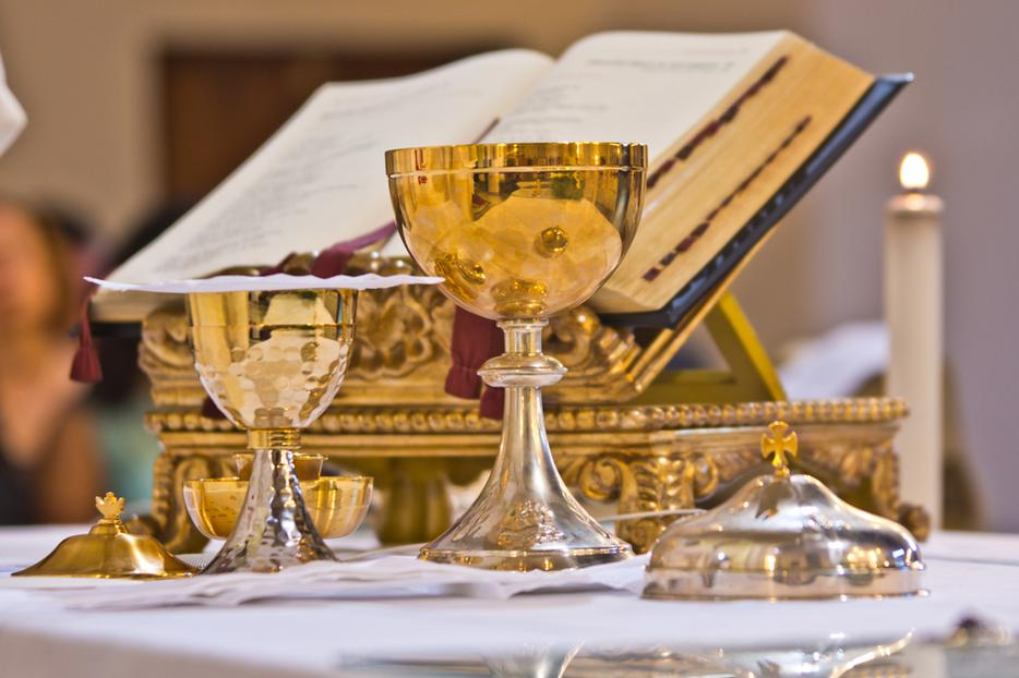 Close-up of an altar prepared for Mass.