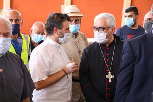 Maronite Archbishop of Beirut Paul Abdel Sater investigates damages at St. Michael Maronite Church in the Beirut neighborhood also named for the saint.