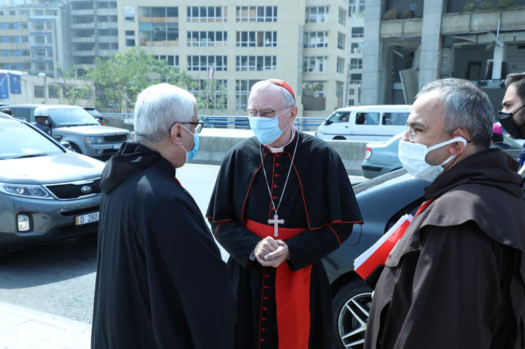 Maronite Archbishop of Beirut Paul Abdel Sater (left), Cardinal Pietro Parolin (center) and Father Michel Abboud, President of Caritas Lebanon (right) near the Beirut port during the Vatican Secretary of State's September 3-4 visit to Lebanon.