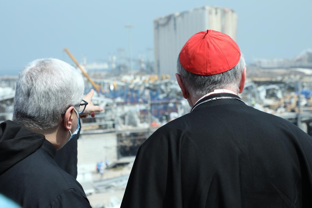 Maronite Archbishop of Beirut Paul Abdel Sater shows Cardinal Pietro Parolin the ruins at the Beirut port during the Vatican Secretary of State's September 3-4 visit to Lebanon.