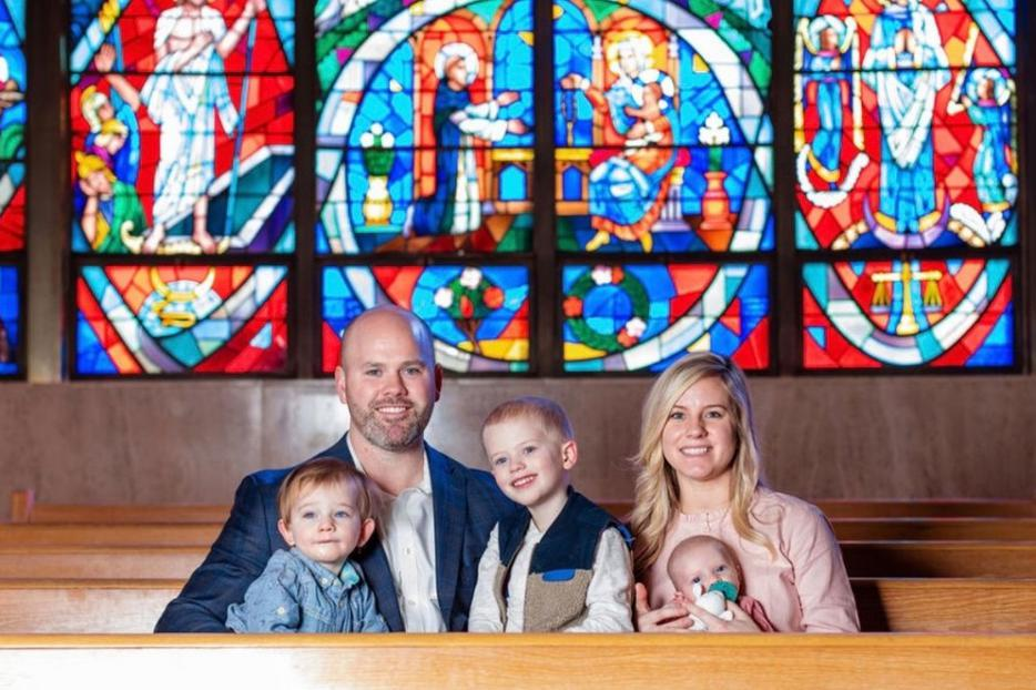 Tyler Rowley, shown with wife Nichole and children Gerard, Fulton, EveMarie, uses lessons from football in his pro-life and speaking endeavors.