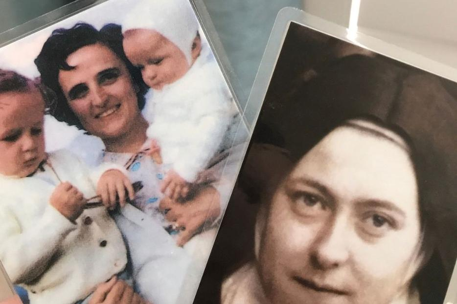 Holy cards of St. Gianna Molla (l) and St. Thérèse of Lisieux are tangible reminders of holy lives who teach us how to live for God and intercede for us from heaven.