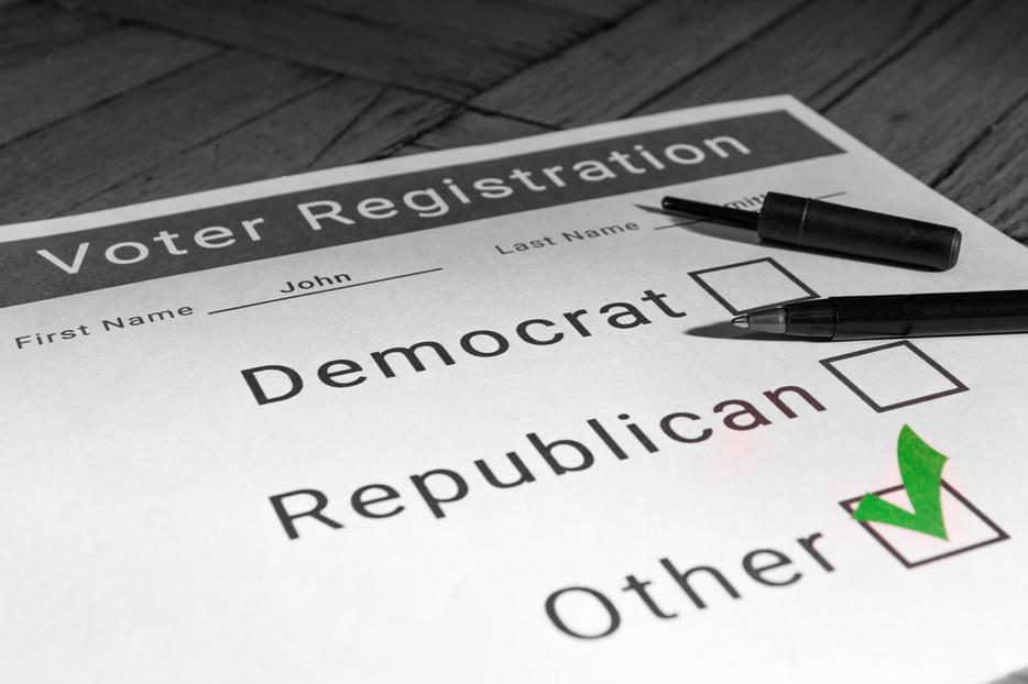 Voter registration checked for third party.