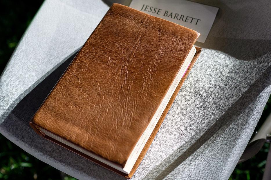 The Barrett family Bible is seen on Jesse Barrett's seat before the swearing-in ceremony of his wife, Judge Amy Coney Barrett, as Supreme Court Associate Justice Oct. 26 on the South Lawn of the White House.