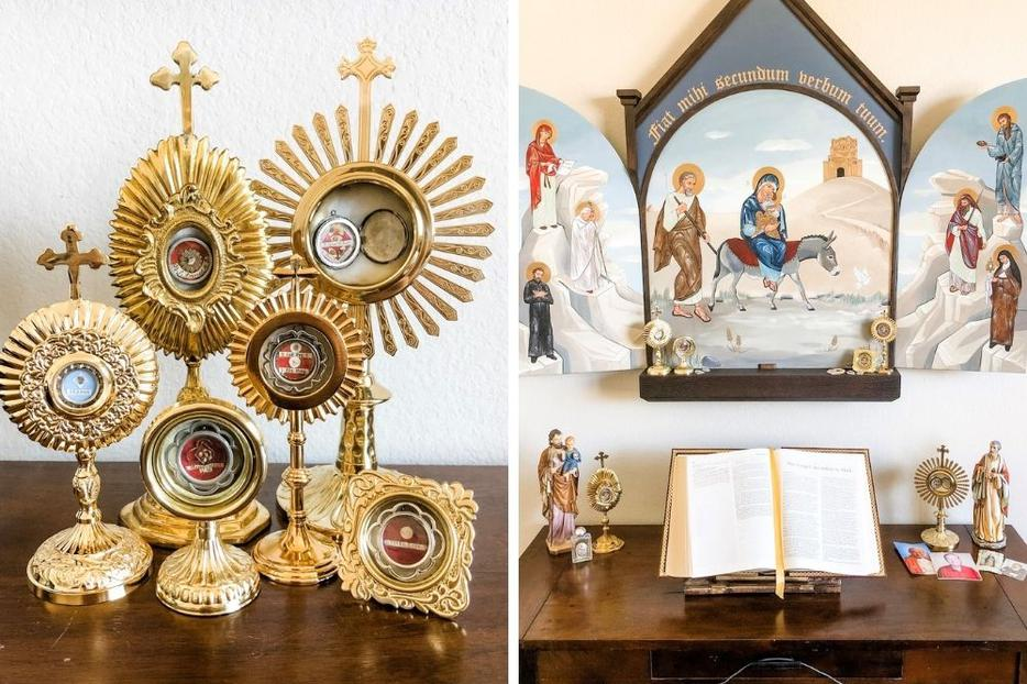 Lisa and Kevin Cotter are blessed to have been given relics of Pope St. John Paul II, St. Anne, St. Maria Goretti, St. Elizabeth Ann Seton, St. Ignatius of Loyola and St. Thérèse, among others.