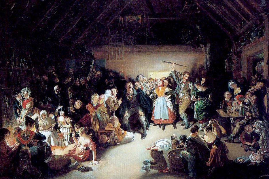"""Daniel Maclise, """"Snap-Apple Night, On the Festival of Hallow Eve,"""" 1833"""