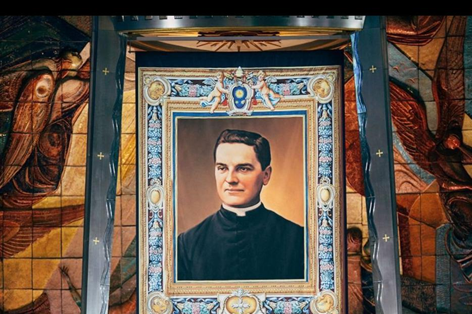 Tapestry with the image of  Blessed Michael McGivney hangs in the Cathedral of St. Joseph in Hartford, Connecticut, on Oct. 31 during the beatification ceremony of the priest who founded the Knights of Columbus.