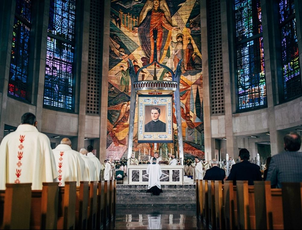 Cardinals Joseph Tobin of Newark presided at the beatification of Father Michael McGivney in the Cathedral of St. Joseph in Hartford, Connecticut on Oct. 31.