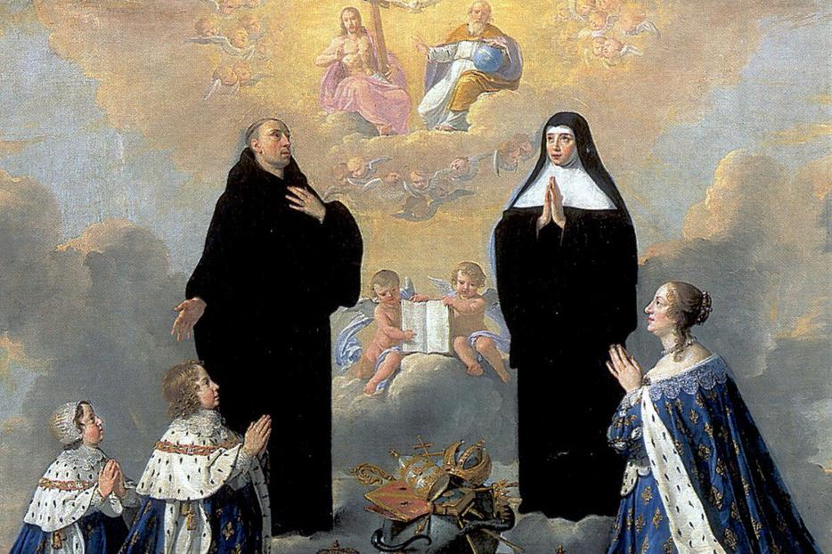 "Philippe de Champaigne, ""Anne of Austria With Her Children, Praying to the Holy Trinity with St. Benedict and St. Scholastica,"" 1640s"
