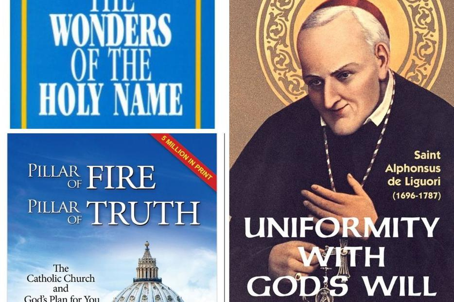 Clockwise from top left: 'The Wonders of the Holy Name,' 'Uniformity With God's Will' and 'Pillar of Fire, Pillar of Truth' are just some of the best-selling 'tracts' that have bolstered the faithful and offered evangelization opportunities over the years.