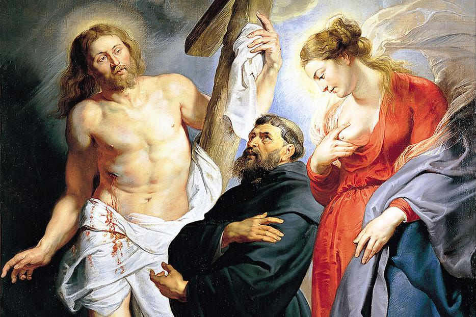 """Peter Paul Rubens [1577-1640], """"St. Augustine of Hippo with Christ and the Virgin Mary"""""""