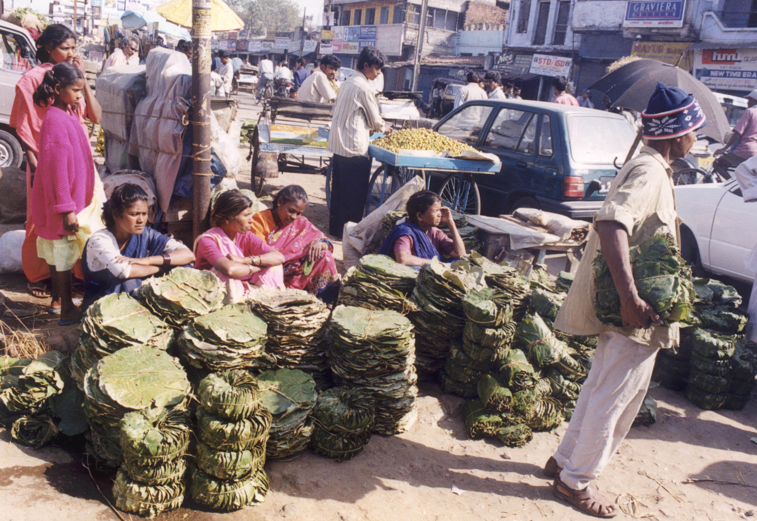 Impoverished indigenous adivasis sell leaves and wood in Ranchi market for their livelihood.