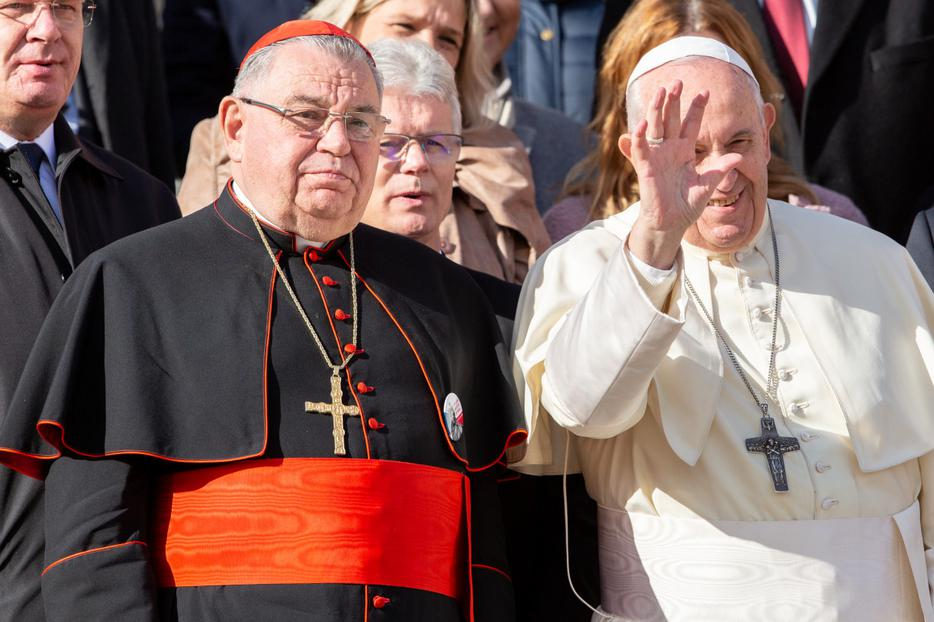 Pope Francis poses with Cardinal Dominik Duka, Archbishop of Prague, Czech Republic, after the Wednesday general audience in St. Peter's Square, Nov. 13, 2019.