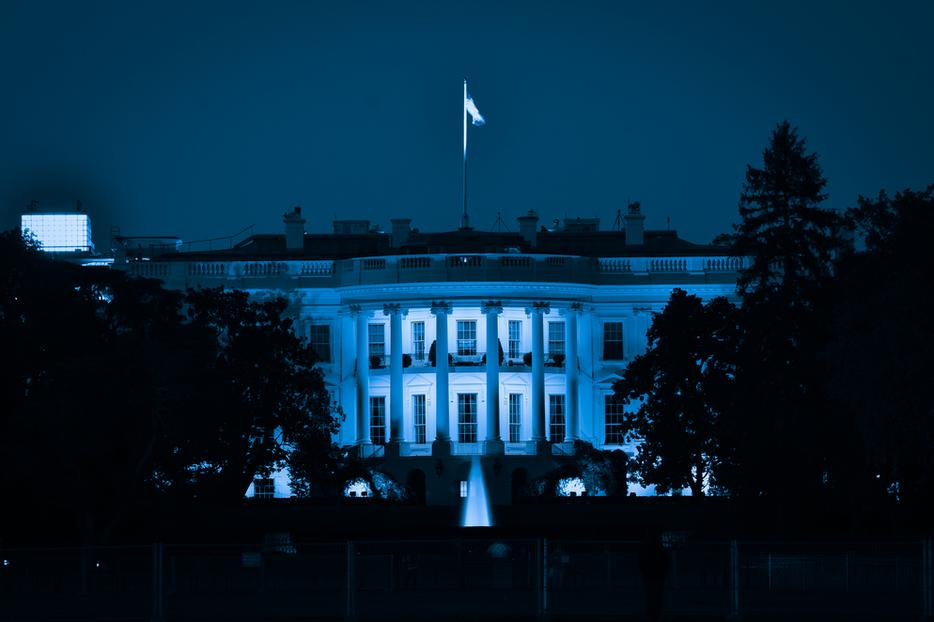 The White House at night in Washington, D.C.