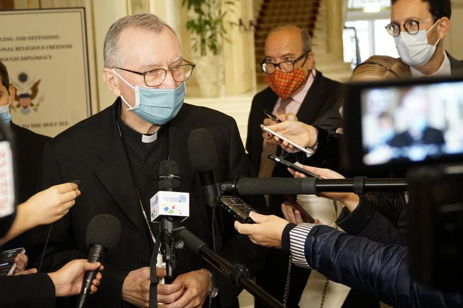 Vatican Secretary of State Cardinal Pietro Parolin talks to journalists after a symposium organized by the U.S. Embassy to the Holy See in Rome Sept. 30, 2020.
