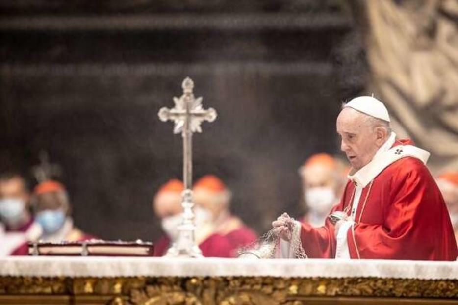 Pope Francis celebrates a Requiem Mass in St. Peter's Basilica for deceased cardinals and bishops Nov. 5, 2020.