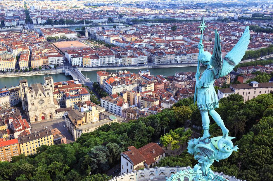View of Lyon from the top of Notre Dame de Fourviere.