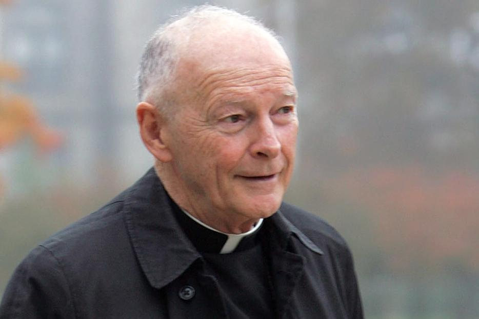 Then-Cardinal Theodore McCarrick arrives for the funeral Mass of Cardinal James A. Hickey at the Basilica of the National Shrine of the Immaculate Conception Oct. 30, 2004, in Washington, DC.