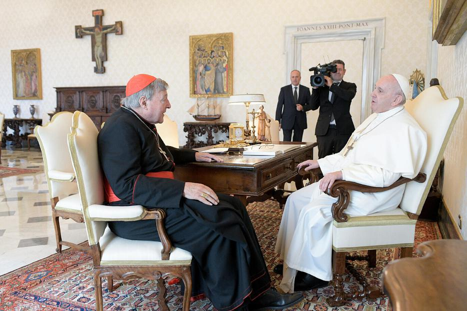 Pope Francis received Cardinal George Pell, former prefect of the Secretariat for the Economy, in a private audience at the Vatican, Oct. 12, 2020.