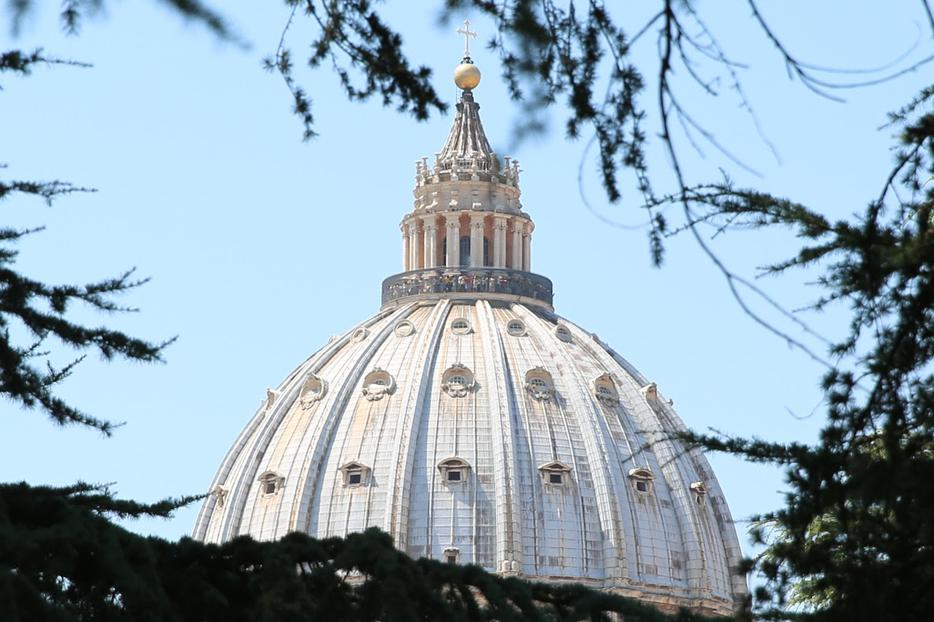 "A view of St. Peter`s Cupola from the Patristic Institute ""Augustinianum"" in Rome, Italy on July 1, 2015."
