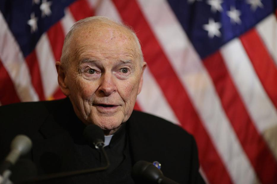 Cardinal Theodore McCarrick, archbishop emeritus of Washington, speaks during a news conference with senators and national religious leaders to respond to attempts at vilifying refugees and to call on lawmakers to engage in policymaking and not 'fear-mongering' at the U.S. Capitol December 8, 2015 in Washington, DC.