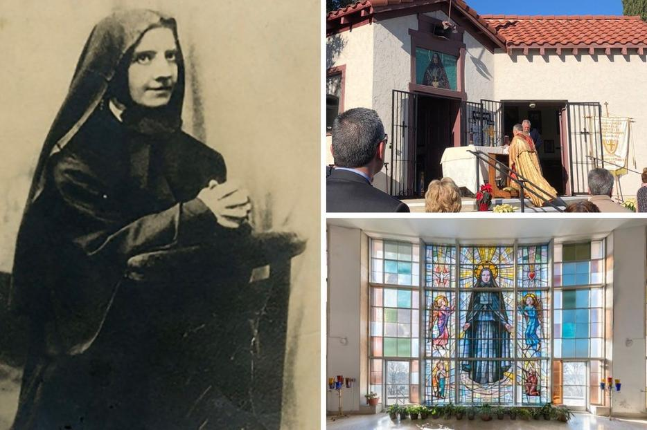 Clockwise from left: A portrait of Mother Frances Cabrini, the 2019 Mother Cabrini Mass at St. Frances Xavier Chapel in Burbank, California, and a stained-glass window bearing an image of the saint at the St. Frances Xavier Cabrini Shrine in New York attest to the enduring legacy of this beloved saint.