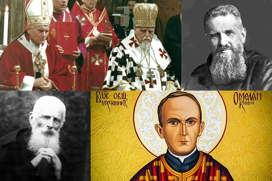 Clockwise, from upper left: Servant of God Josyf Slipyi with Pope St. John Paul II; Venerable Andrey Sheptytsky; Blessed Omelian Kovch; Blessed Klymentiy.