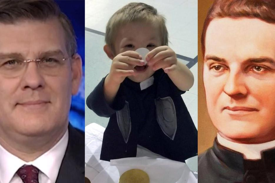 """L to R: (1) Andrew Walther appears on 'EWTN News Nightly' March 2, 2020 [photo: Screenshot/EWTN News]. (2) Michael Schachle is a """"walking, talking miracle. ... His parents are ever grateful to the intervention of their little boy's holy namesake"""" [photo courtesy of the Schachle family]. (3) Blessed Michael J. McGivney, shown in a portrait by Chas Fagan, lived his vocation amid ordinary parish life [photo: Knights of Columbus Multimedia Archives via CNA]."""
