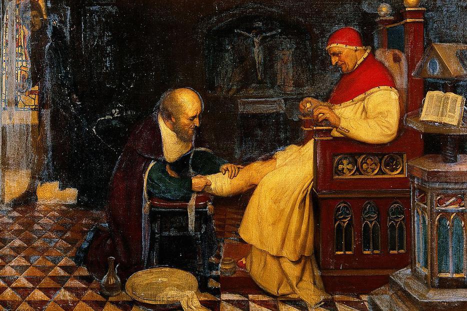 "Ernest Board, ""Guy de Chauliac Bandaging the Leg of Pope Clement VII at Avignon"" c. 1348"