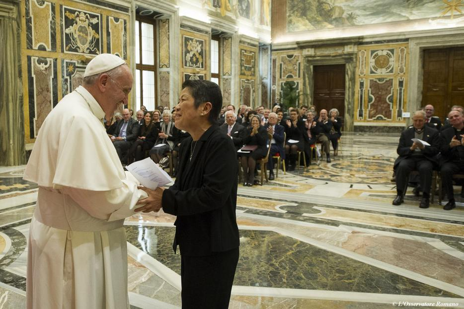 Pope Francis meets with the Jesuit Refugee Service on the occasion of their 35th anniversary at the St. Clementine Hall in the Apostolic Palace on November 14, 2015.