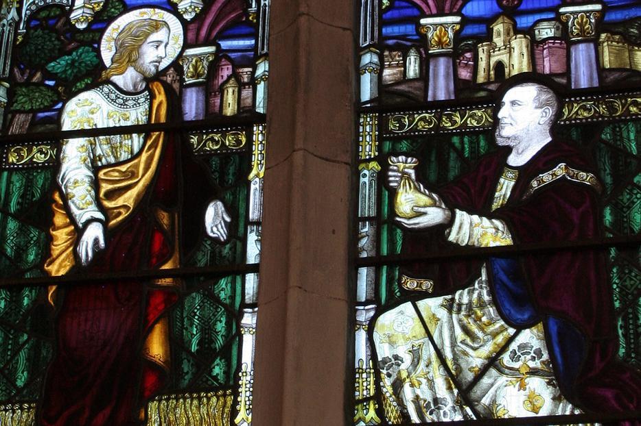 """Matthew 25"" in stained-glass window"