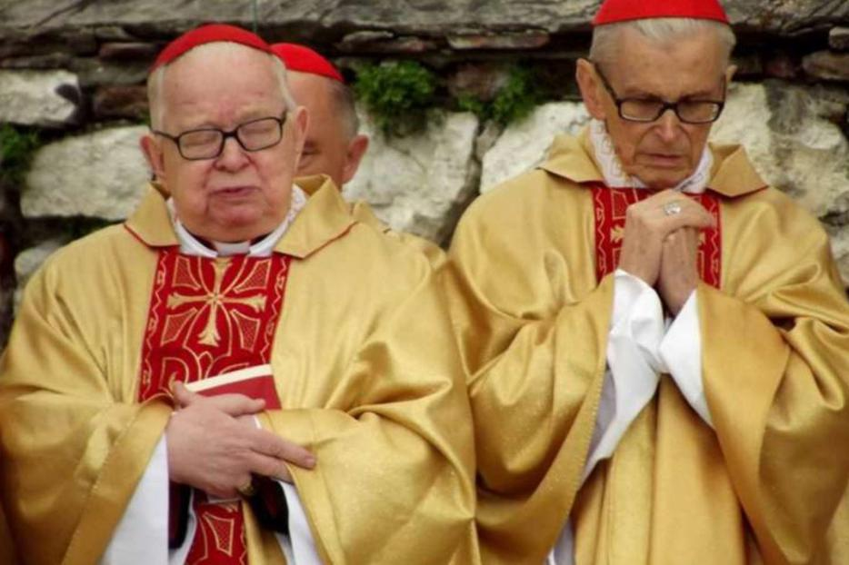 Cardinal Henryk Gulbinowicz, left, who died Nov. 16, was sanctioned by the Vatican for sexual abuse.