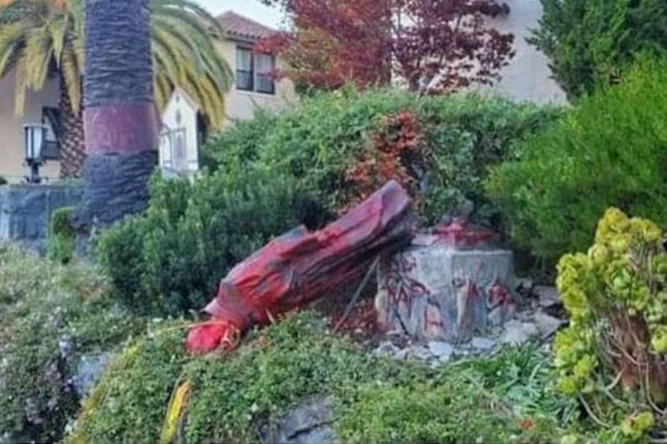 A statue of St. Junípero Serra was defaced and torn down by protesters Oct. 12 at Mission San Rafael Archangel in San Rafael, California.