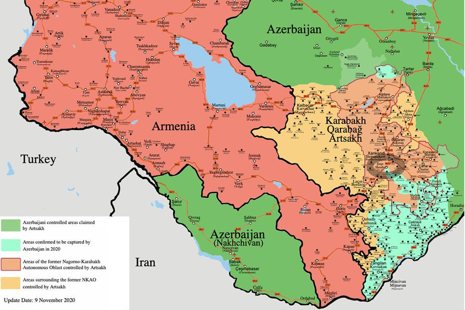 Under duress, Armenia signed a Russian-brokered peace deal with Azerbaijan. The territory in turquoise, including the town of Shushi (in gray oval) was taken by Azeri military force in November and retained in the peace agreement of Nov. 10. Shushi has been part of the Armenian 'cradle of Christianity' for centuries; Armenia adopted Christianity even before Rome did.