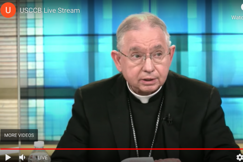 Archbishop Jose Gomez speaks Nov. 17 during a virtual session of USCCB fall assembly.
