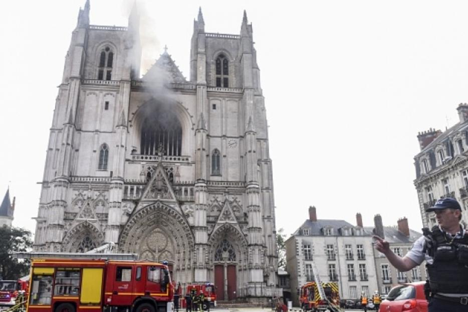 The Diocese of Nantes said there was also significant damage to the cathedral's 16th century rose window and to the choir organ.