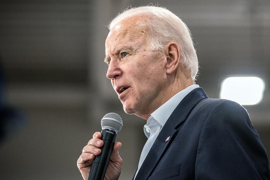 Vice President Joe Biden addresses a campaign rally at Hiatt Middle School in Des Moines, Iowa, on Feb. 2.