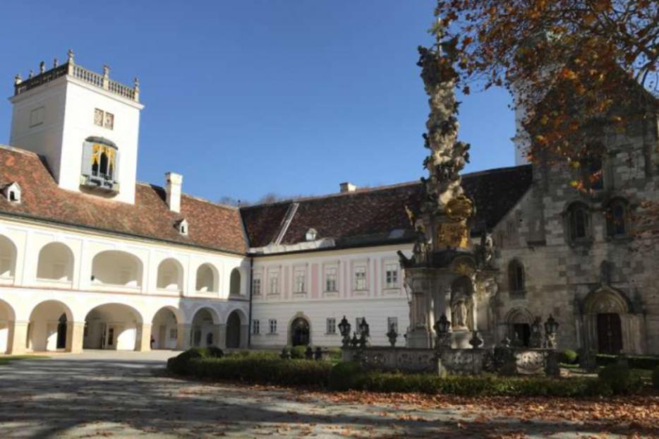 The inner courtyard of Heiligenkreuz Abbey in the Vienna Woods, Austria.
