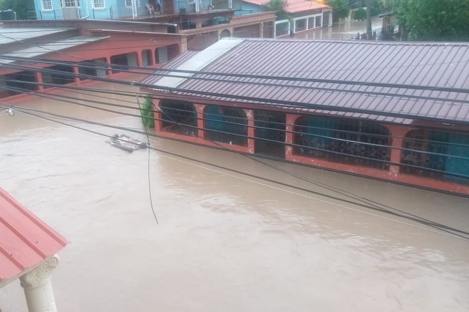 Streets and buildings flooded in Lima Nueva Cortes, Honduras.