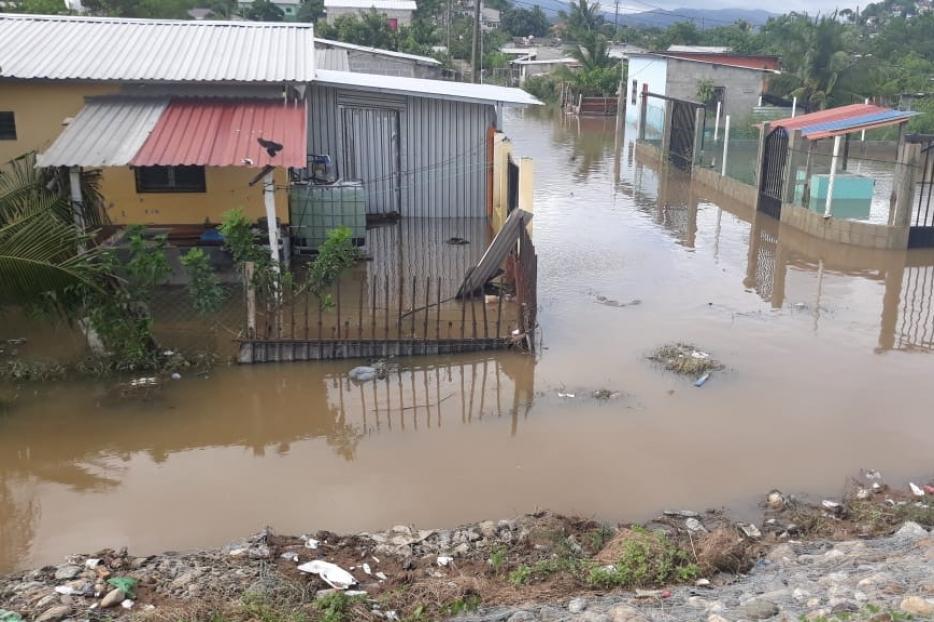 Neighborhoods and homes flooded on the streets of Lima Nueva Cortes, Honduras.