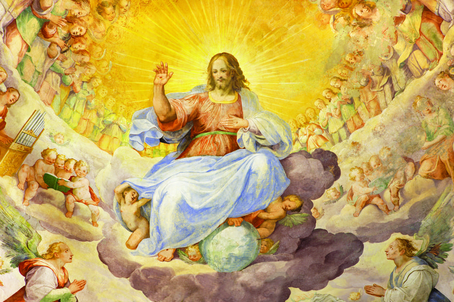 This fresco of 'Christ the Redeemer in Glory With the Heavenly Host' by Niccolo Circignani Il Pomarancio (1588) is seen in the main apse of the Basilica di Santi Giovanni e Paolo in Rome.