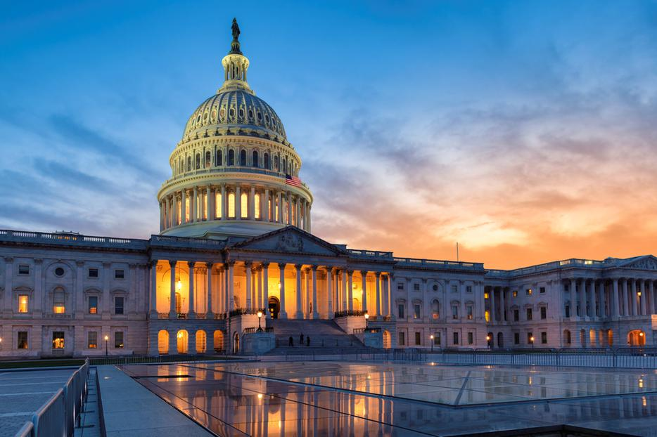 The United States Capitol building at sunset in the District of Columbia.