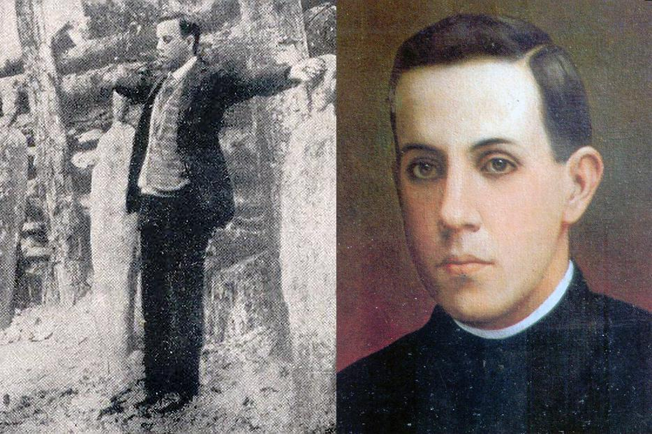 LEFT: Blessed Miguel Pro faces the firing squad on Nov. 23, 1927. RIGHT: A portrait of Father Pro.