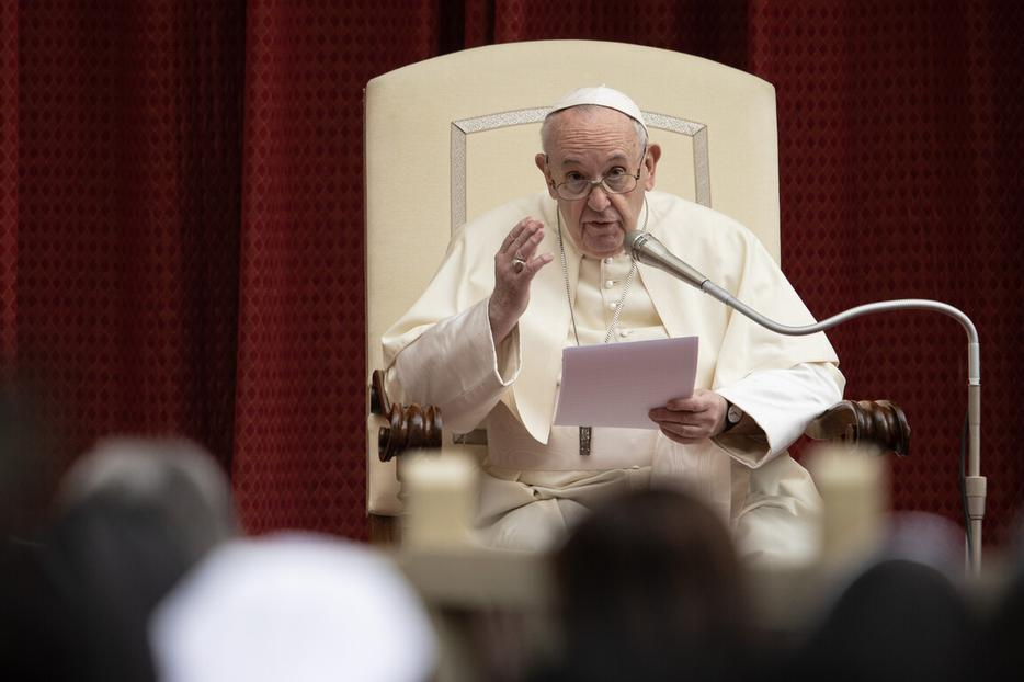 Pope Francis speaks during the Wednesday general audience inside the San Damaso Courtyard of the Vatican's Apostolic Palace, Sept. 30, 2020.