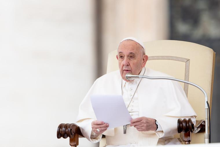 Pope Francis speaks during the Wednesday general audience in St. Peter's Square on Feb. 26, 2020.